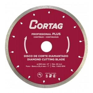 DISCO DIAMANTADO 200MM FURO 25,4MM PARA PORCELANATO PROFISSIONAL PLUS CORTAG