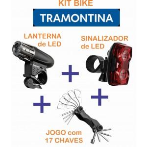 KIT BIKE - LANTERNA E SINALIZADOR DE LED + JOGO C/ 17 CHAVES - TRAMONTINA
